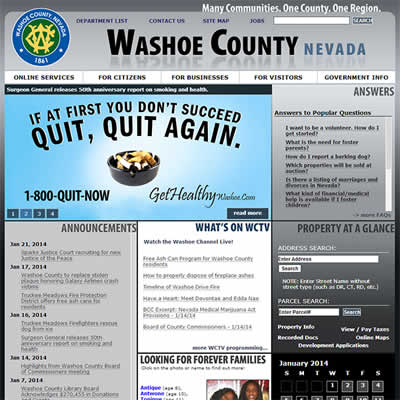 Front page of washoecounty.us
