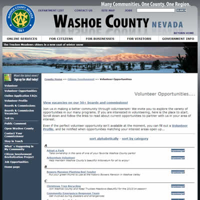 Interior page of washoecounty.us